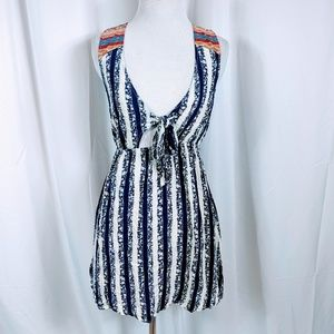 Flying Tomato Striped Tie Front Dress Dress